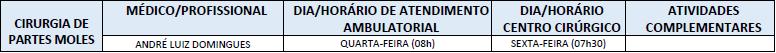 ATENDIMENTO CIRURGIA DE PARTES MOLES
