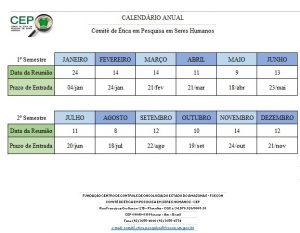 Calendário do CEP
